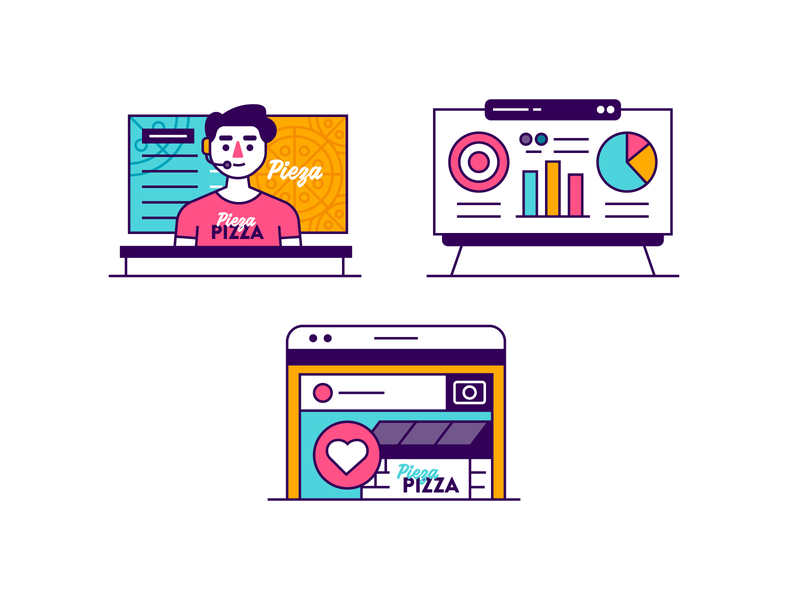 Infographic Elements line art icons graphs white board presentation pizza place phones call center