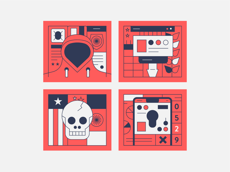Cyber Theft line art lock phone security cyber credit thief skull icons