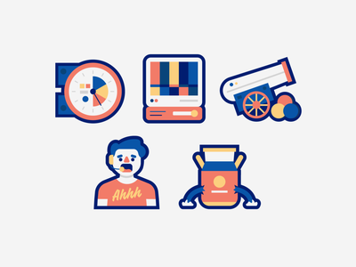 Icon Set character gauge monitor cannon icon set vector icon cartoon people design icons illustration line art