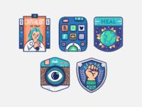 Infographic Badges poster zelda shield logo capitalism remote camera eye design logo badges icons procreate illustration