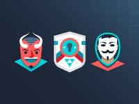Infographic bits devil horns horns satan masks mask triforce link zelda shield people vector design icons illustration anonymous devil