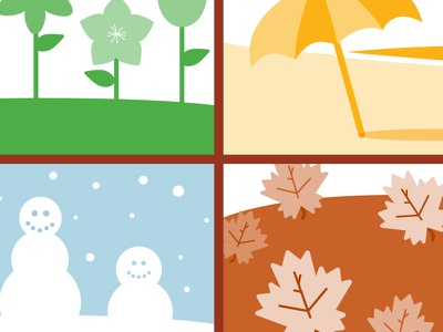 Season illos illustration seasons flowers leaves beach snow