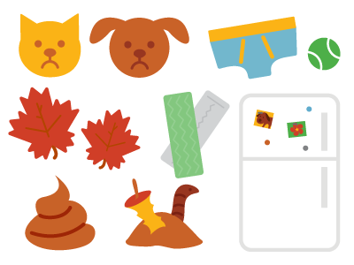 fave illos from recent project icons illustrations pets poop leaves gum underwear