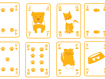 pet playing cards illustration pets cute