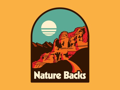 Nature Backs Canyonlands western canyon simple retro hiking nature apparel outdoors design flat illustration