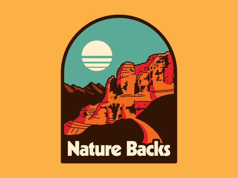 Nature Backs Canyonlands western canyon simple retro hiking nature apparel outdoors design flat illustration