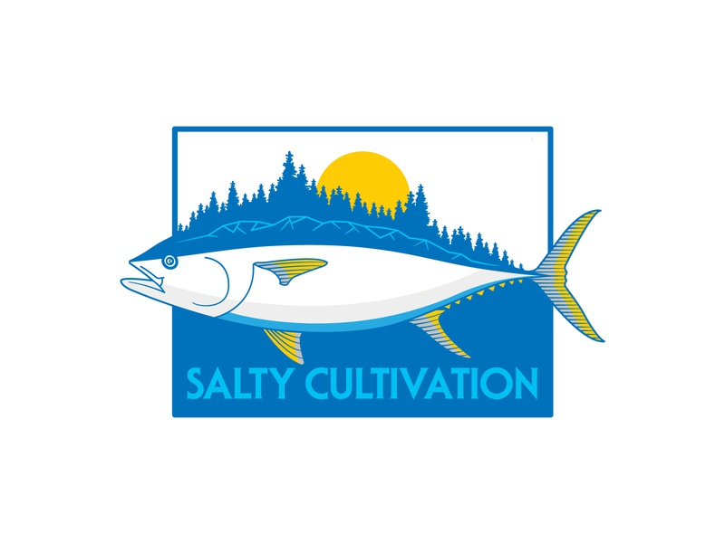 "Salty Cultivation ""Big Tuna"" fishing character cannabis tuna ui vector retro apparel outdoors design flat illustration"