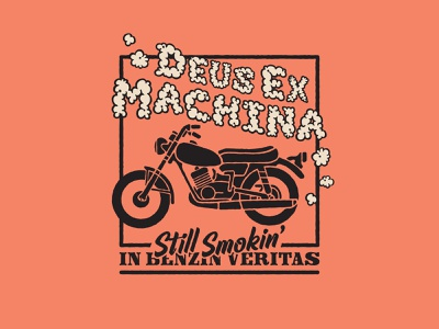 "Deus ""Quarant-ee Collab"" Entry typography design flat vector retro apparel branding illustration motorcycle moto deus ex machina deus"