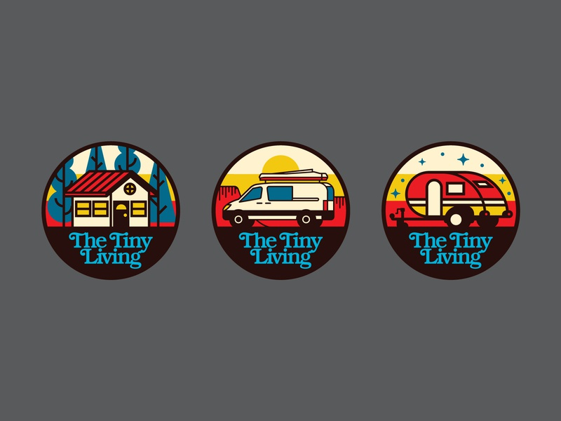 The Tiny Living Icon Set vector simple ui badge retro outdoors icon design flat illustration