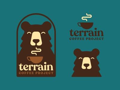 Terrain Coffee branding icon patch bear coffee retro outdoors design flat illustration logo