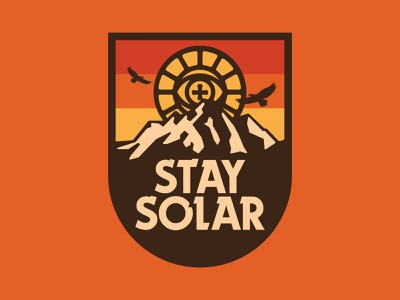 Stay Solar vector mountain design branding hiking retro apparel outdoors icon flat illustration