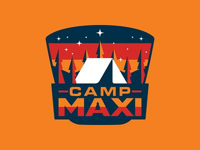 CampMaxi Van Branding typography simple patch ui badge nature retro outdoors illustration logo