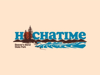 Hochatime Landscape patch vector typography branding hiking retro outdoors apparel design illustration