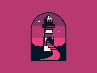 Lavender Lighthouse simple lighthouse cannabis logo design branding retro ui outdoors flat illustration