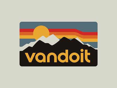 Vandoit Identity badge logo nature design branding retro apparel outdoors illustration camping van