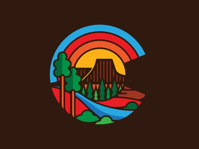 YoColorado Golden Mesa vector simple branding icon thicklines illustration nature retro patch apparel outdoors