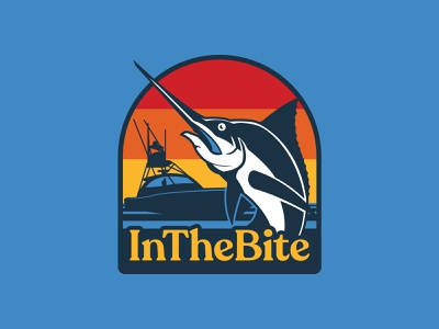 InTheBite Hat Patch illustration simple ui nature badge marlin patch retro design fishing sportfishing outdoors