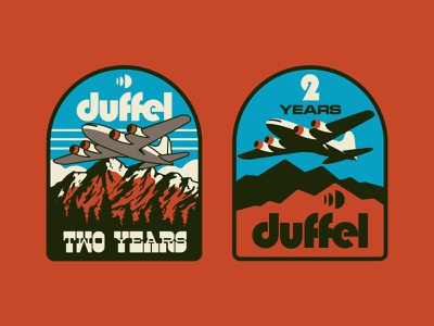 Duffel Patch Concepts vector patch outdoors airplane branding nature retro badge icon illustration logo