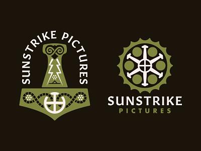 Sunstrike Pictures icon production studio film norse mjolnir design flat vector branding illustration logo