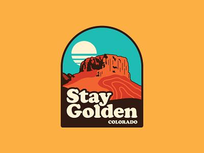 Stay Golden, Colorado ui icon flat vector apparel mesa desert design branding patch colorado outdoors illustration logo