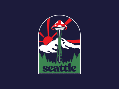 Inner-Space Needle 1970s space needle pnw seattle icon apparel design branding vector psychedelic mushrooms illustration logo