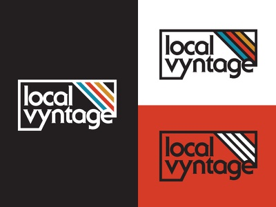 Local Vyntage Approved identity sports nostalgia 1970s apparel blue yellow red retro client trademark logo