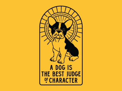 No Bones About It client shirt apparel vector illustration french bulldog flat dog design branding animal