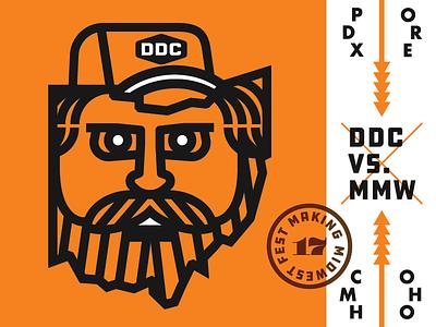 DDC VS. MMW columbus promotion festival black orange draplin ohio flat design logo