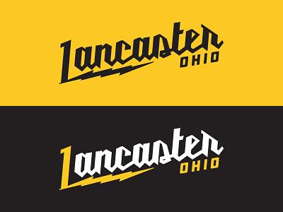 My Hometown script ddc hardware industrial black yellow typography ohio flat design logo