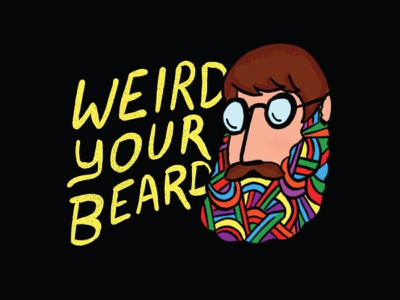 Hittin' That (Beard) Wax procreate 420 hippie editorial 1970s psychedelic flat branding vector lettering design illustration