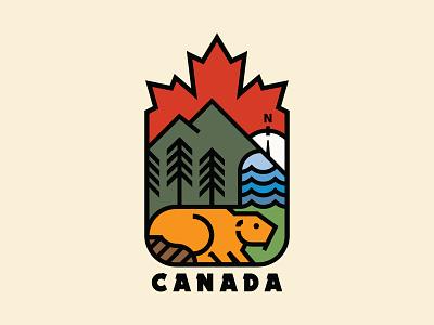 Yes We Canada nature outdoors monoline canada mountains beaver icon flat design logo