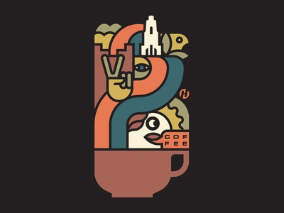 There's a Latte to Love in Columbus 1970s groovy monoline psychedelic columbus coffee icon flat design logo