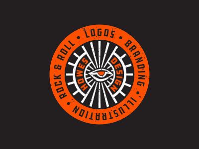 Howes Design Service Dot Com badge seal occult orange distressed design icon flat rock and roll logo
