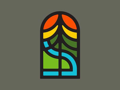 Trekking Icon parks park outdoors pnw nature logo icon hiking flat design adventure