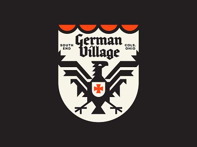 The Village grid blackletter ohio geometric modern german eagle design history flat heraldry logo