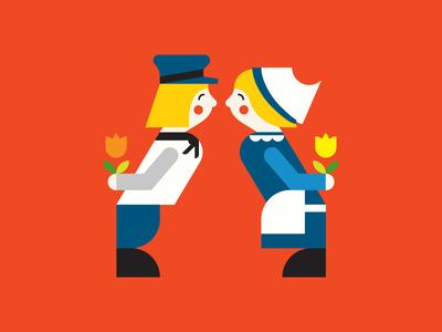 Double Dutch tulip shapes pun modernist illustration greeting card flower editorial cute cuckoo clock