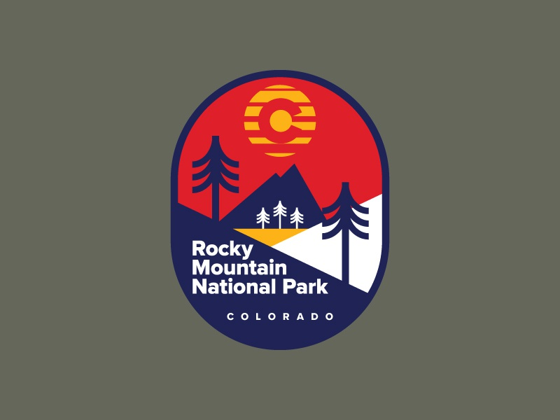 Rocky Mountain National Park colorado outdoors patch badge hiking design icon flat ui logo
