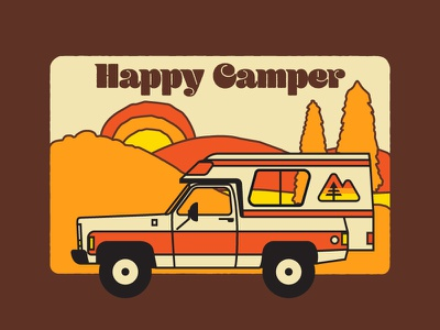 Happy Camper packaging fall 1970s truck outdoors illustration nature hiking design icon flat logo