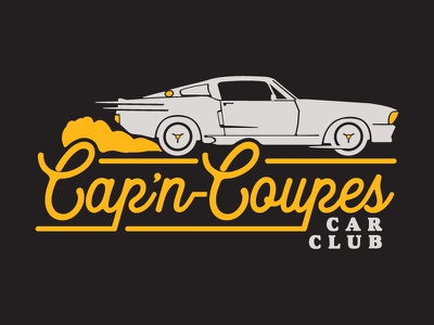 Flyin' the Coupe freelance identity branding lettering muscle car mustang illustration vintage car logo apparel