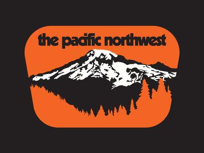 Northwest is Northbest patch badge decal pacific northwest 1970s mountain flat branding vector orange design illustration