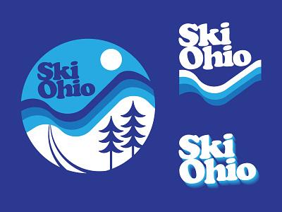 From Ski to Shining Ski outdoor winter ohio patch sticker illustration 1970s flat retro skiing badge logo