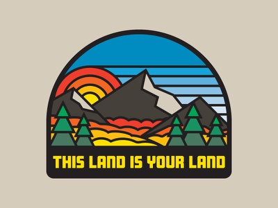 This Land Was Made For You & Me mountains nature sticker badge patch psychedelic flat branding vector lettering design illustration