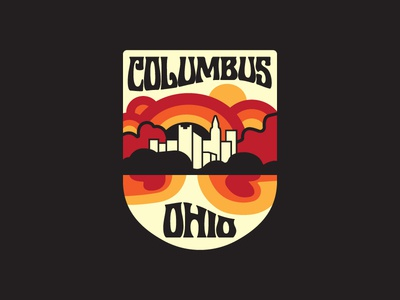 Take A Trip To Columbus ohio columbus lettering hippie typography illustration decal sticker logo psychedelic badge