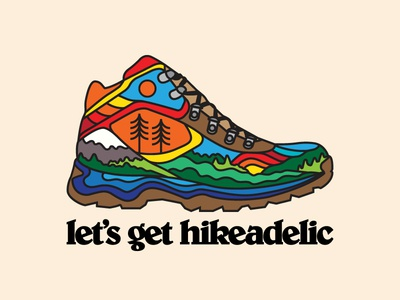 Hikeadelia color flat boot hiking lifestyle hippie trippy psychedelic outdoors design illustration