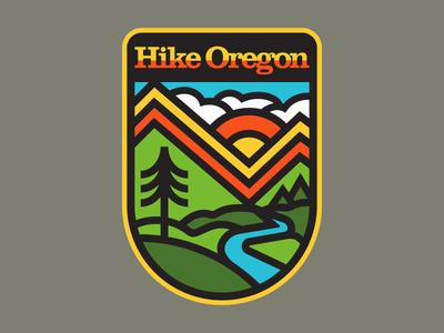 The Oregon Trail oregon badge outdoors apparel nature hiking design icon flat adventure logo