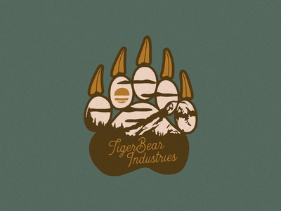 Round of a Paws bear badge outdoors apparel nature hiking design paw flat adventure logo