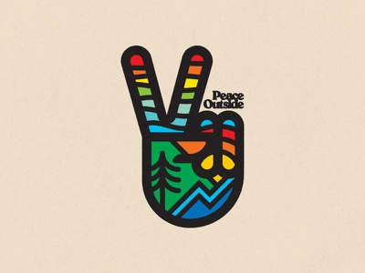 Peace Out...side decal colors hippie badge outdoors psychedelic illustration ui flat design peace