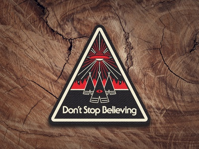 Journey On trees sticker ufo pines pin patch outdoors aliens illustration design decal apparel