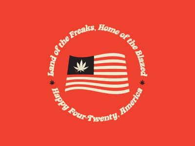 One Nation, Under Bud ui flat badge typography design marijuana cannabis 420 america usa illustration logo