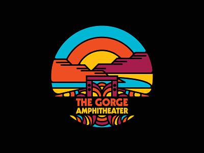 Hey Gorge-ous color apparel the gorge concert washington psychedelic hippie retro illustration badge circle logo